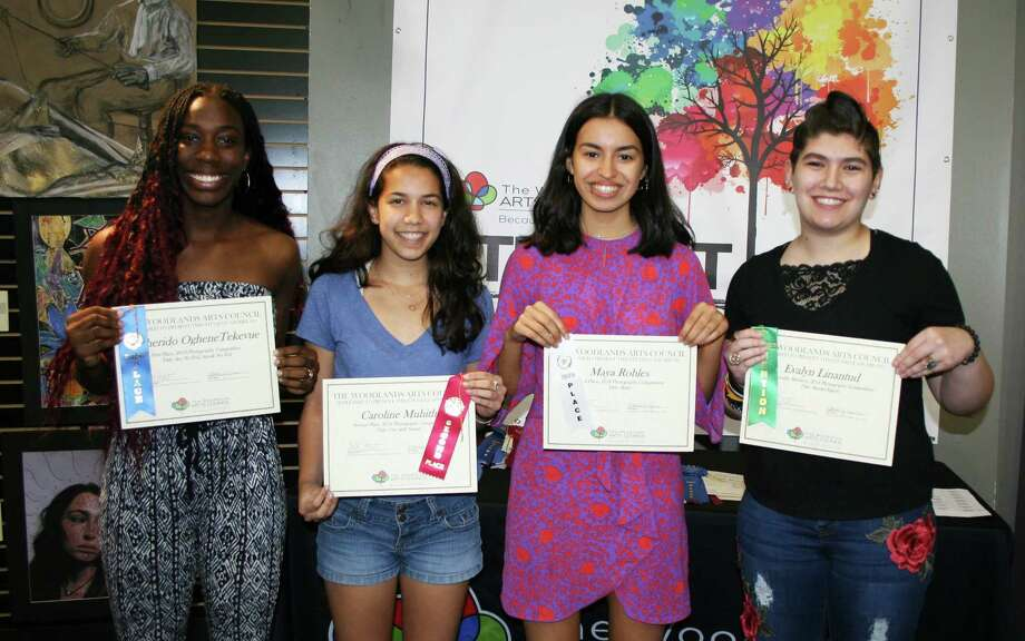 Pictured are the winners of Photography Competition sponsored by The Woodlands Arts Council: (l to r): Teke Ewherido (John Cooper School), 1st place; Caroline Muhith (John Cooper), 2nd place; Maya Roble (John Cooper School), 3rd place; and Evalyn Linantud (The Woodlands High School), honorable mention. Photo: Courtesy Photo
