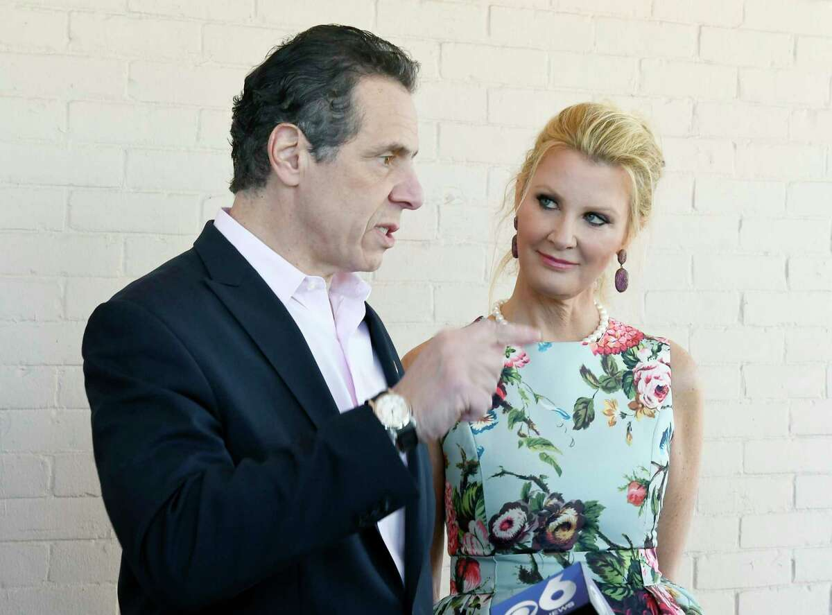 New York Gov. Andrew Cuomo and his girlfriend Sandra Lee, speak with reporters during the governor's Easter open house at the Executive Mansion Saturday, March 31, 2018, in Albany, N.Y. (Photo/Hans Pennink)(Hans Pennink / Special to the Times Union)