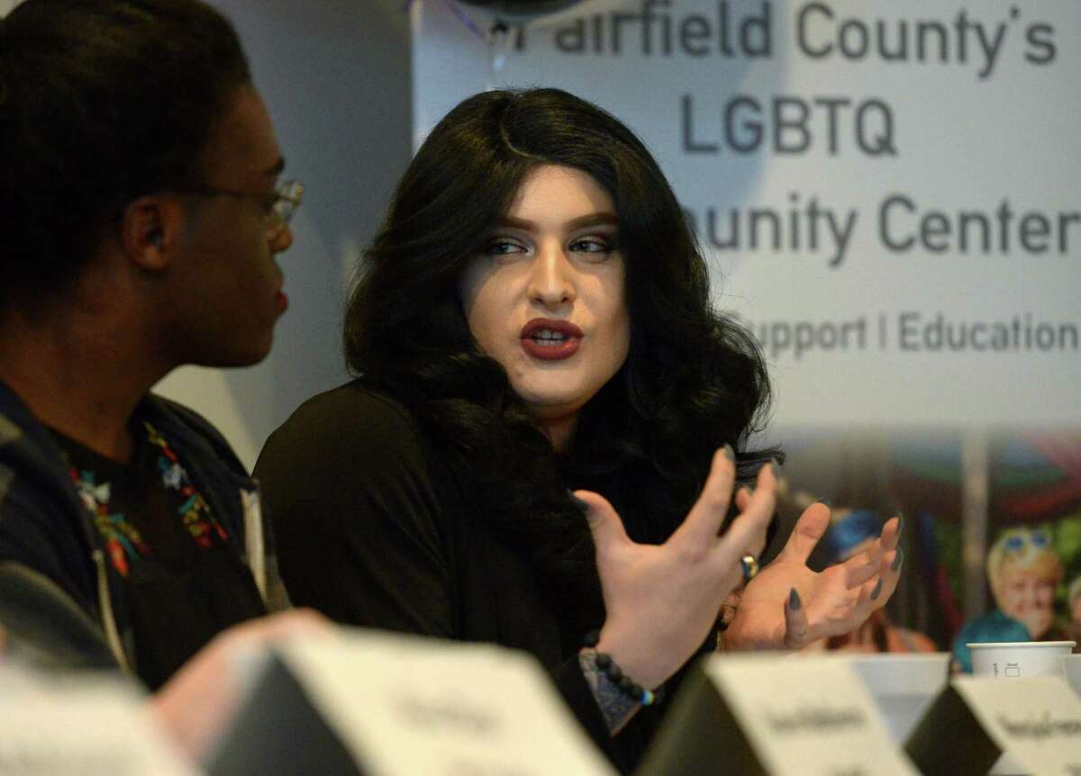 Chris Avery Bennett addresses Transgender and Nonbinary Visibility and Empowerment during a panel discussion as the Triangle Community Center's Transgender and Gender Nonconforming Advisory Committee hosts a Trans Gender Day of Visibility 2018 Saturday March 31, 2018, in Norwalk, Conn