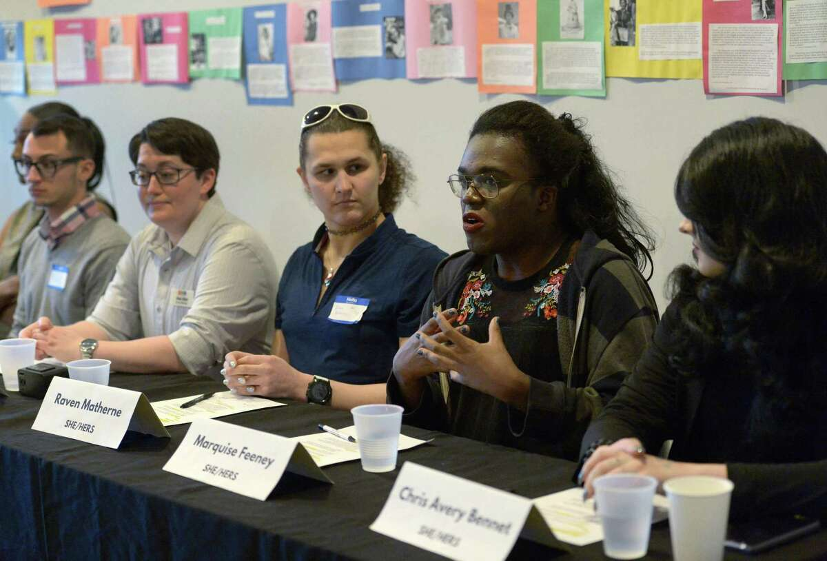 Taylor Edelman, Alex Eliot, Raven Matherne, Marquise Feeney, and Chris Avery Bennett addresse Transgender and Nonbinary Visibility and Empowerment during a panel discussion as the Triangle Community Center's Transgender and Gender Nonconforming Advisory Committee hosts a Trans Gender Day of Visibility 2018 Saturday March 31, 2018, in Norwalk, Conn