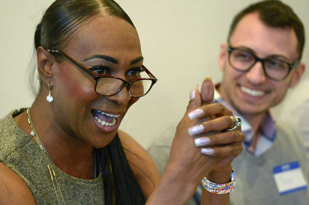 Vanessa Parrack addresses Transgender and Nonbinary Visibility and Empowerment during a panel discussion as the Triangle Community Center's Transgender and Gender Nonconforming Advisory Committee hosts a Trans Gender Day of Visibility 2018 Saturday March 31, 2018, in Norwalk, Conn
