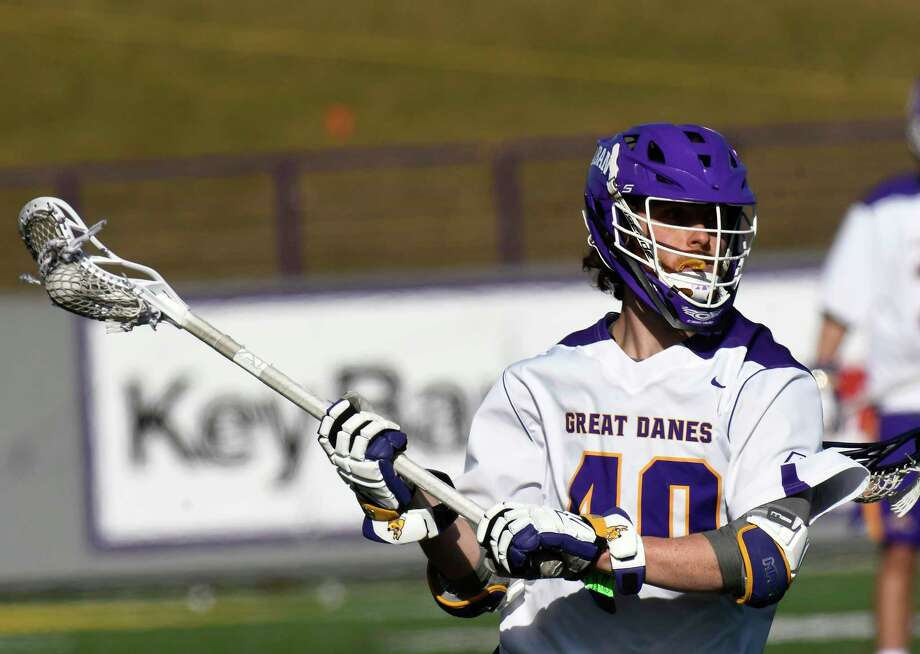 University at Albany's Kyle McClancy (40) shoots against Stony Brook during a NCAA Division I college men's lacrosse game on Saturday, March 31, 2018, in Albany, N.Y. (Hans Pennink / Special to the Times Union) Photo: Hans Pennink / Hans Pennink