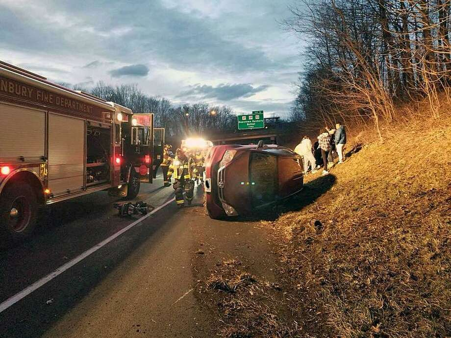 Firefighters were dispatched to exit 4 of Interstate 84 eastbound in Danbury, Conn., on March 30, 2018, for a two-vehicle accident with rollover. Photo: Contributed Photo / Danbury Fire Department / Contributed Photo / Connecticut Post Contributed