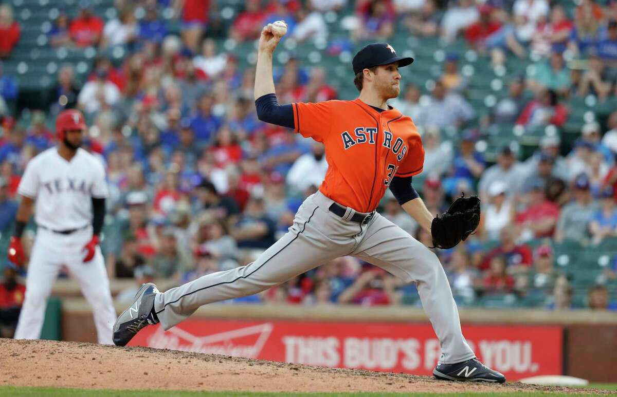 PHOTOS: 2019 Astros game-by-game  Houston Astros pitcher Collin McHugh (31) pitches in the eighth inning of an MLB baseball game at Globe Life Park, Saturday, March 31, 2018, in Arlington.  >>>See how the Astros have fared in each game this season ...