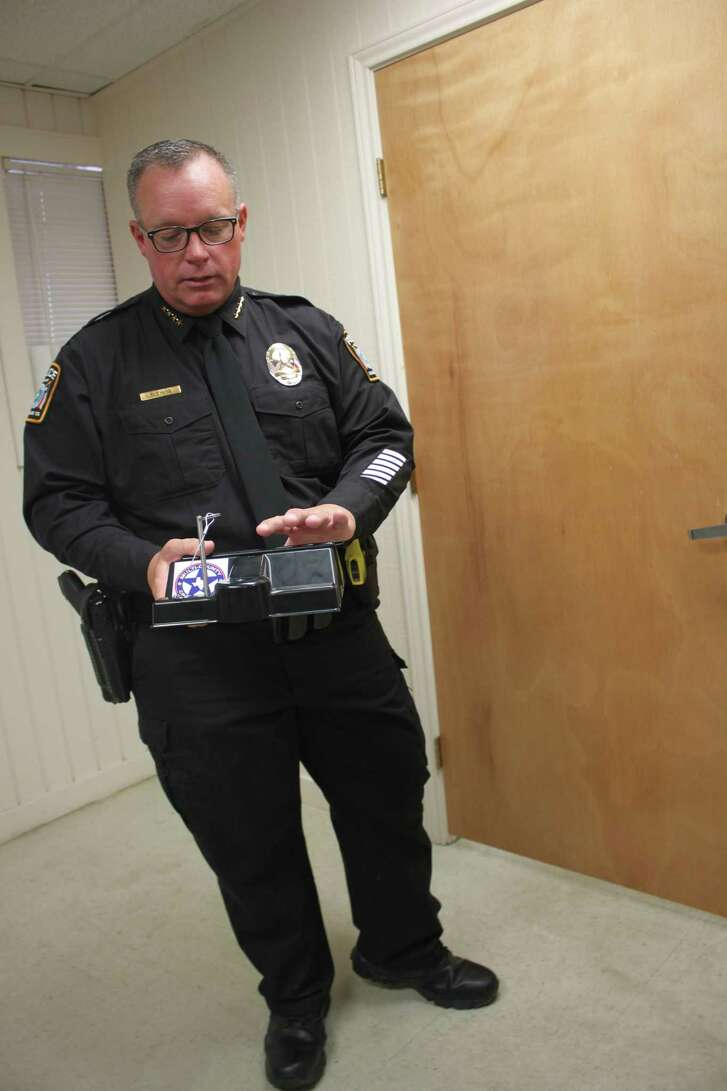 Cleveland ISD Police Chief Rex Evans explains how molded and reinforced plastic door stops can be effective and inexpensive tools to combat active shooters on campus.