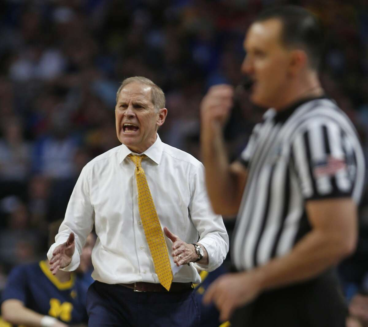 Michigan head coach John Beilen reacts during game. Loyola Chicago v Michigan on Saturday, March 31 ,2018 at the Alamodome