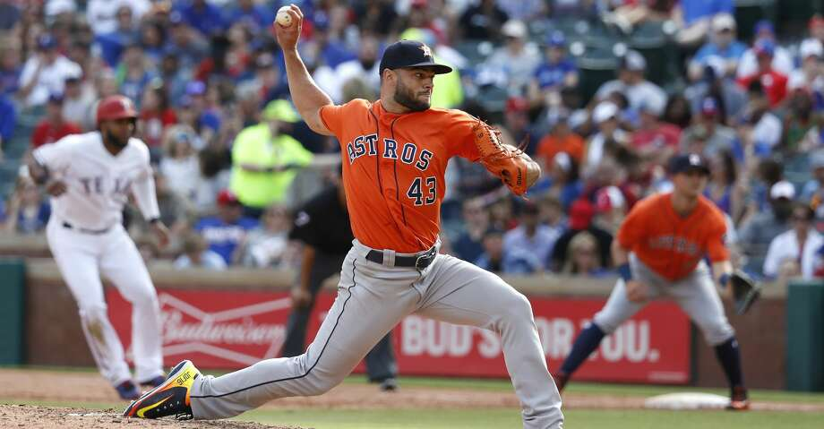 Houston Astros starting pitcher Lance McCullers Jr. (43) pitches in the in the sixth inning of an MLB baseball game at Globe Life Park, Saturday, March 31, 2018, in Arlington.   ( Karen Warren / Houston Chronicle ) Photo: Karen Warren/Houston Chronicle