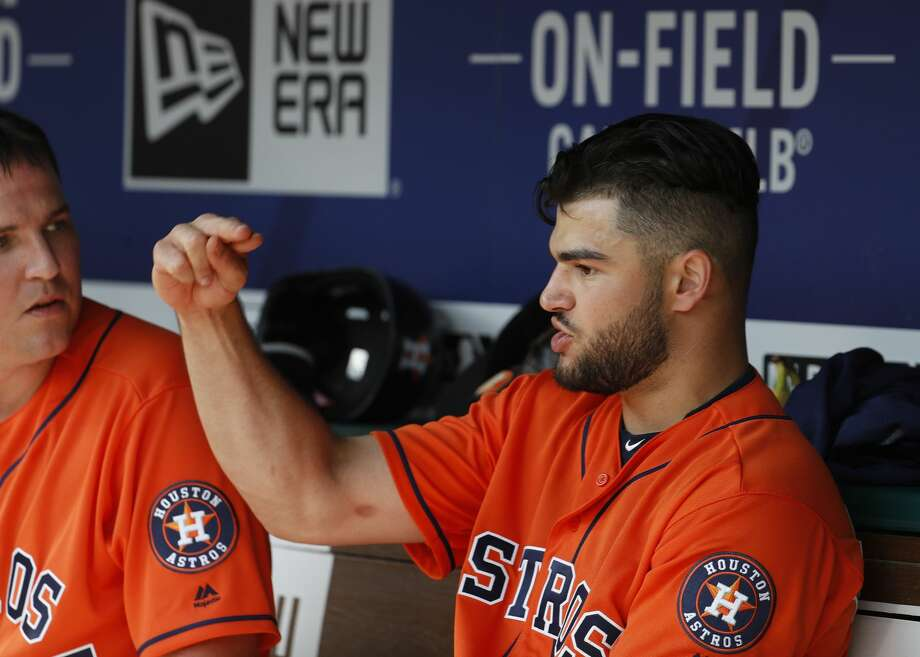 Houston Astros starting pitcher Lance McCullers Jr. (43) talks in the dugut with Will Harris in the seventh inning of an MLB baseball game at Globe Life Park, Saturday, March 31, 2018, in Arlington.   ( Karen Warren / Houston Chronicle ) Photo: Karen Warren/Houston Chronicle