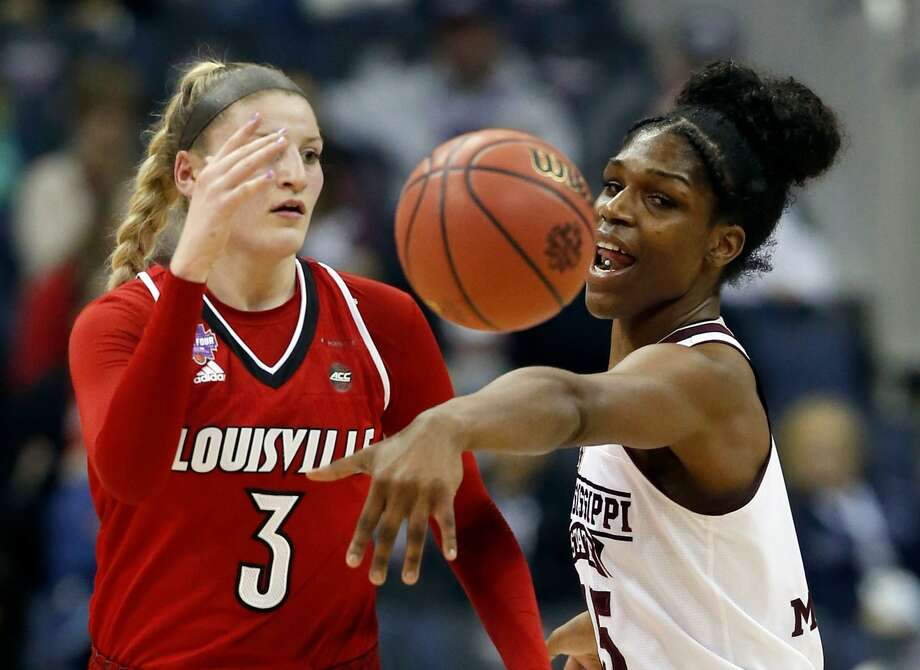 Notre Dame will have trouble with Mississippi State's Teaira McCowan, right, who had 21 points and 25 rebounds against Louisville. Photo: Ron Schwane, FRE / Associated Press / FR78273 AP