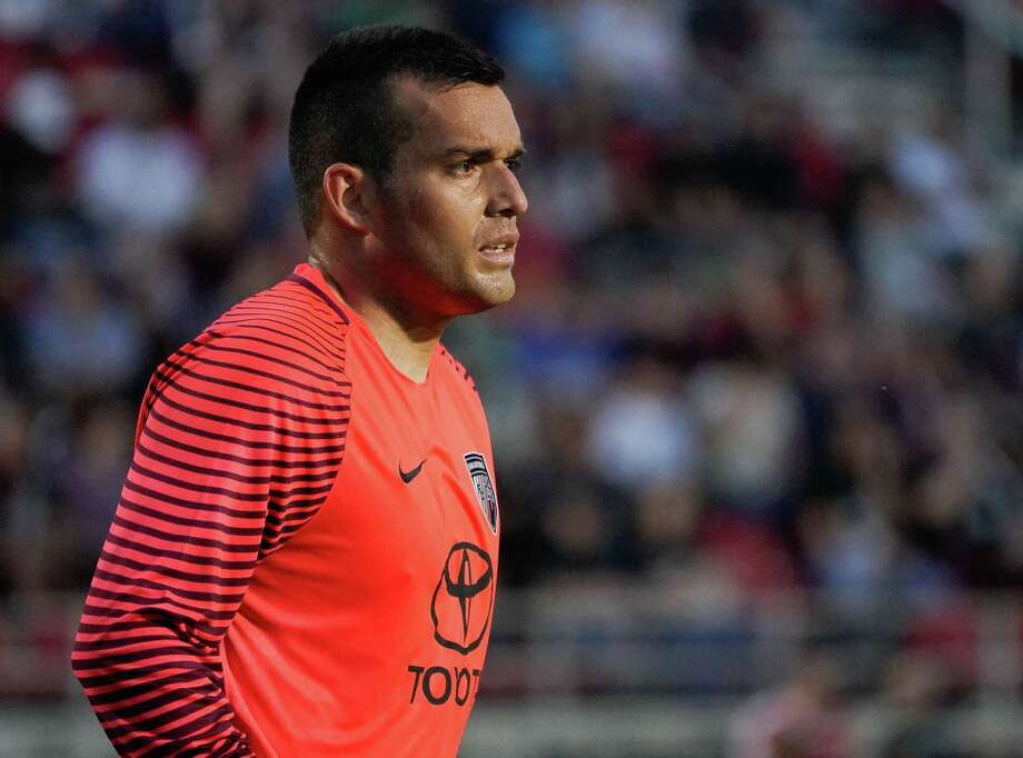 San Antonio FC goalkeeper Diego Restrepo, shown here during a match earlier this month vs. Saint Louis FC, had two saves as the local team earned its first shutout at LA Galaxy II. (Darren Abate/USL) Photo: Darren Abate /Darren Abate /USL / Darren Abate Media LLC