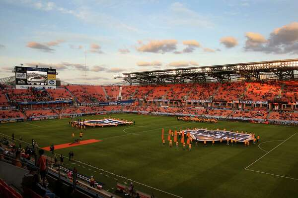 The opening ceremony of the MLS game between Houston Dynamo and New England Revolution at BBVA Compass Stadium on Saturday, March 31, 2018, in Houston.