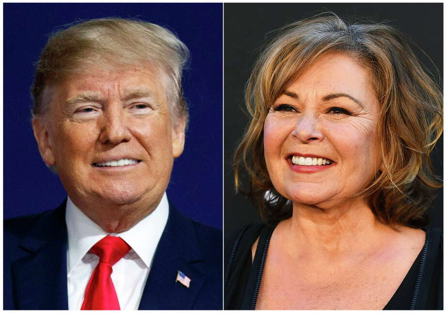"In this combination photo, U.S. President Donald Trump appears at a campaign rally in Moon Township, Pa., on March 10, 2018, left, and Roseanne Barr arrives at the Los Angeles premiere of ""Roseanne"" in Burbank, Calif. Trump reached out to Roseanne Barr to congratulate her after the debut of her ABC sitcom reboot drew 18.4 million viewers. Speaking by telephone Thursday on ABC's ""Good Morning America,"" Barr said the call was ""pretty exciting."" She described the exchange as a ""friendly conversation about working in television and ratings."" (AP Photo) / AP"