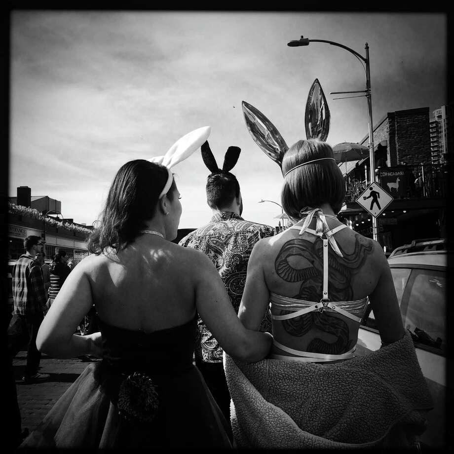 Dozens of costumed revelers pub crawl through downtown during the annual BunnyCon, Saturday, March 31, 2018. Photo: GENNA MARTIN, GENNA MARTIN, SEATTLEPI.COM / SEATTLEPI.COM