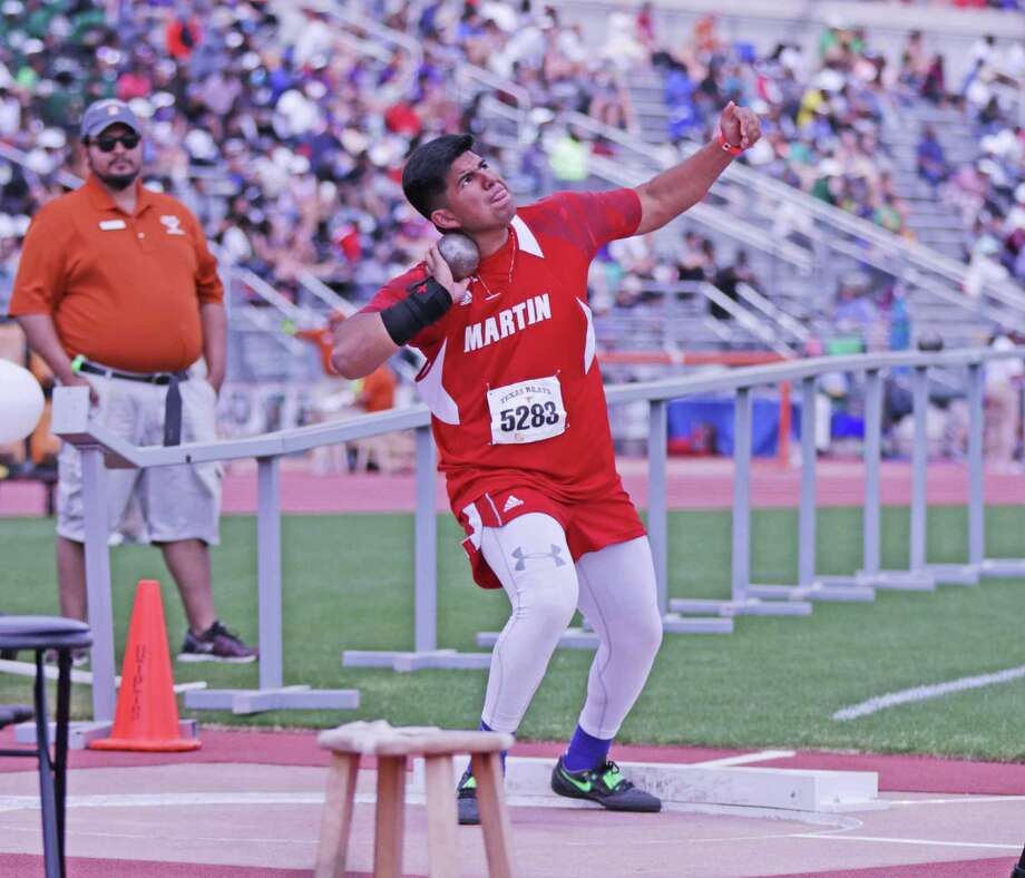 Martin's Sergio Tijerina took 18th out of 30 throwers in the shot put Saturday at the 91st Clyde Littlefield Texas Relays in Austin. Photo: Clara Sandoval / Laredo Morning Times