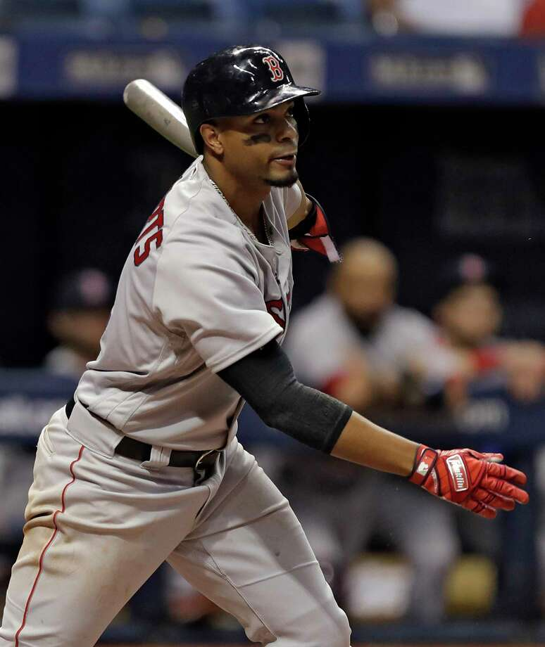 Boston Red Sox's Xander Bogaerts hits a single off Tampa Bay Rays relief pitcher Ryan Yarbrough during the eighth inning of a baseball game Saturday, March 31, 2018, in St. Petersburg, Fla. (AP Photo/Chris O'Meara) Photo: Chris O'Meara / Copyright 2018 The Associated Press. All rights reserved.