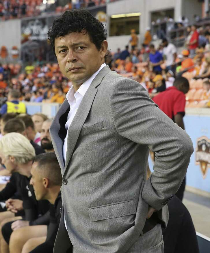 Houston Dynamo head coach Wilmer Cabrera during the opening ceremony of the MLS game against the New England Revolution at BBVA Compass Stadium on Saturday, March 31, 2018, in Houston. ( Yi-Chin Lee / Houston Chronicle )