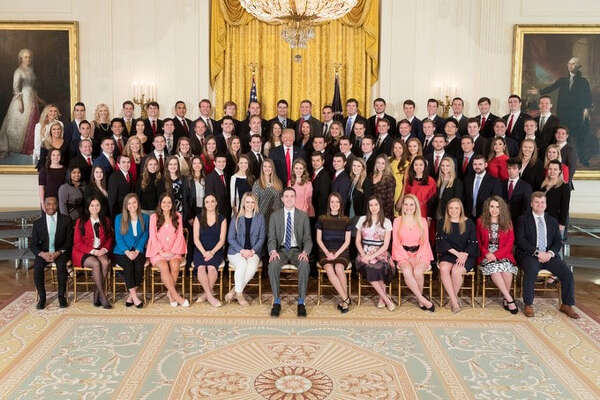 President Donald Trump and the White House's spring 2018 intern class on March 26.