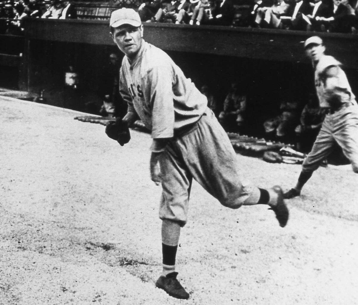 Babe Ruth, began his Major League Baseball career at pitcher for the Boston Red Sox in 1914. On the offensive side, he went 0-2 in his first appearnce before being replaced by a pinch hitter.