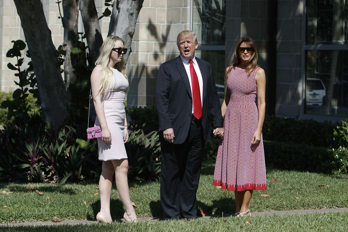 """President Donald Trump, with first lady Melania Trump, and his daughter, Tiffany Trump, at Bethesda-by-the-Sea Church to attend Easter Sunday service, in Palm Beach, Fla., April 1, 2018. Trump, blaming Democrats and the Mexican government for an increasingly """"dangerous"""" flow of illegal immigrants, unleashed a series of fiery tweets on Sunday in which he vowed """"NO MORE DACA DEAL"""" and threatened to walk away from the North American Free Trade Agreement. (Tom Brenner/The New York Times)"""