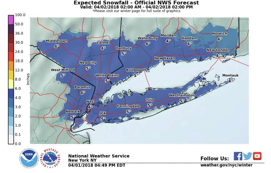 A hazardous weather outlook and winter weather advisory is in effect from 2 a.m. to 2 p.m. Monday for southern Connecticut,northeast New Jersey and southeast New York. Photo: National Weather Service