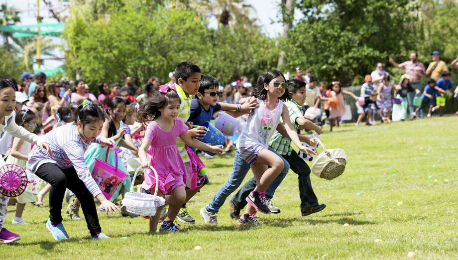 Children race along the grass to hunt Easter eggs during the annual Easter in the Gardens at Moody Gardens on Sunday, April 1, 2018, in Galveston. Photo: Brett Coomer, Staff / Houston Chronicle / © 2018 Houston Chronicle