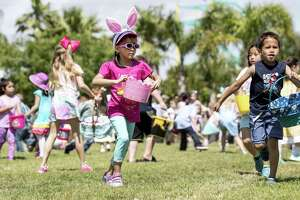 Children run around a field hunting for Easter eggs during the annual Easter in the Gardens at Moody Gardens on Sunday, April 1, 2018, in Galveston.