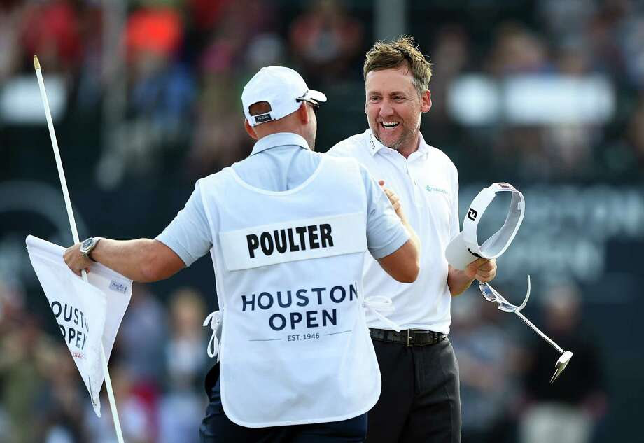 Ian Poulter of England celebrates after winning the Houston Open at the Golf Club of Houston on the first playoff hole on April 1, 2018 in Humble, Texas. Photo: Getty Images, Stringer / 2018 Getty Images