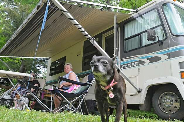 Campers Paulette Moak of Ravena, left, and Dawn Covey of South Bethlehem set up camp Thursday for the Memorial Day weekend at Thompson's Lake in New Scotland. The dogs are Tess, left, and Snuggles. (Lori Van Buren / Times Union) Photo: LORI VAN BUREN