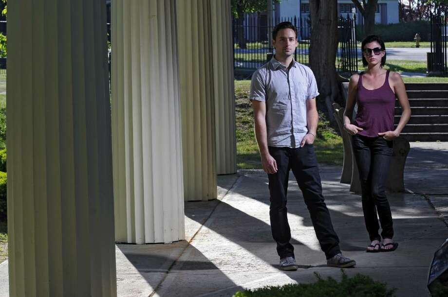 Joshua Carter and Sarah Barthel form the band Phantogram, which has a growing national following. They are from the Saratoga area. Here, they pose for a portrait in Congress Park in Saratoga Springs.  ( Philip Kamrass / Times Union Photo: PHILIP KAMRASS
