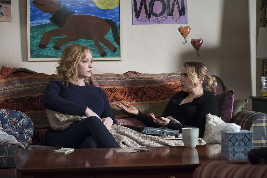 """GOOD GIRLS -- """"A View From The Top"""" Episode 106 -- Pictured: (l-r) Christina Hendricks as Beth Boland, Mae Whitman as Annie Marks -- (Photo by: Steve Dietl/NBC) Photo: Credit: Steve Dietl/NBCq / 2017 NBCUniversal Media, LLC. Credit: Steve Dietl/NBCq"""