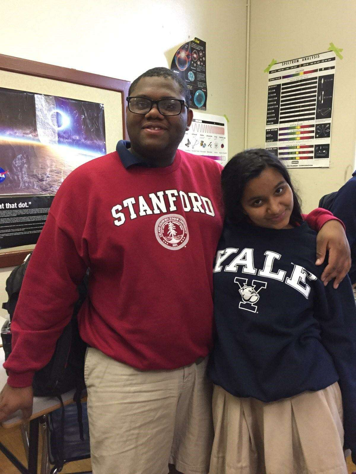 Lamar High School seniors Micheal Brown, left, and Lekha Sunder were accepted to both Stanford and Yale.