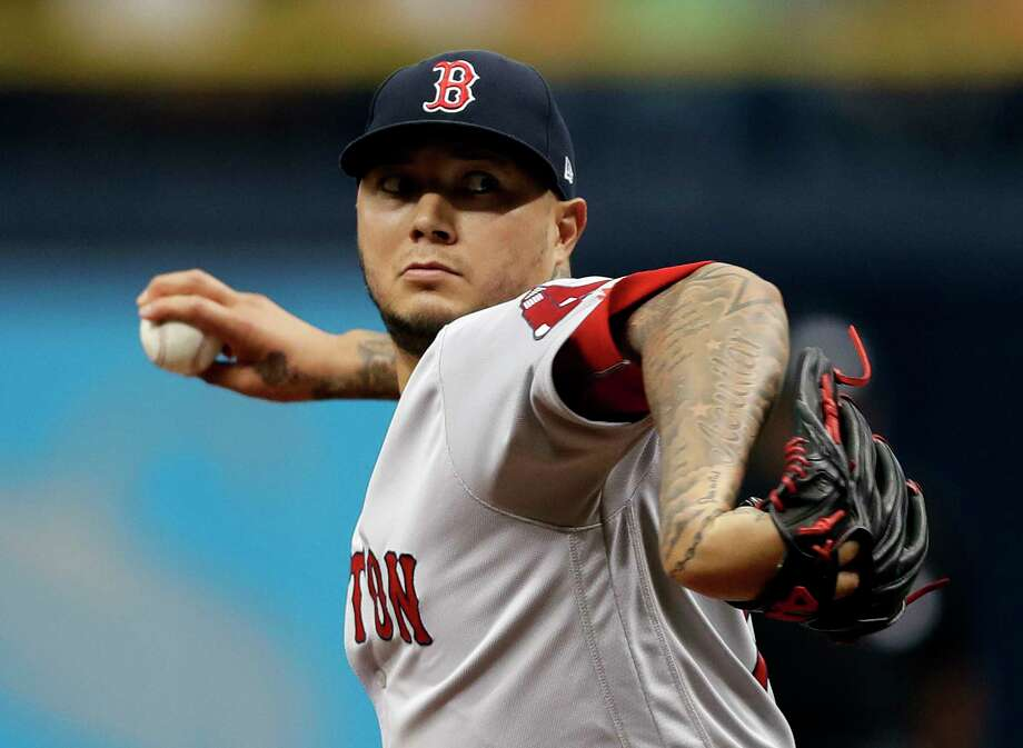 Boston Red Sox's Hector Velazquez pitches to the Tampa Bay Rays during the first inning of a baseball game Sunday, April 1, 2018, in St. Petersburg, Fla. (AP Photo/Chris O'Meara) Photo: Chris O'Meara / Copyright 2018 The Associated Press. All rights reserved.