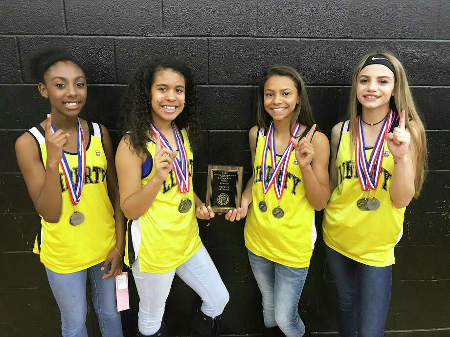 The Liberty Middle School Lady Panther 7th Grade 4 x 100-meter Relay District Champions Photo: Submitted