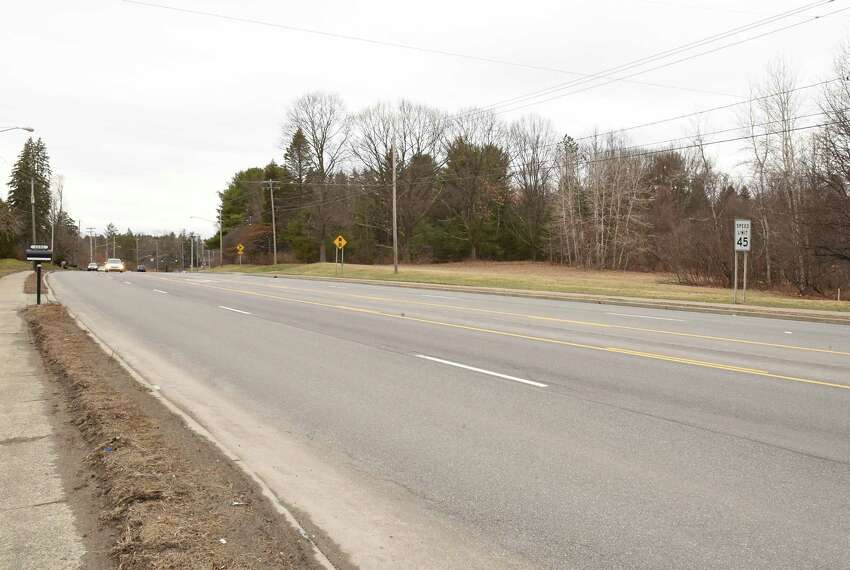 Land where a proposed Holocaust Memorial is set to be located is seen at right along Troy Schenectady Rd. on Friday, March 30, 2018 in Niskayuna, N.Y. (Lori Van Buren/Times Union)