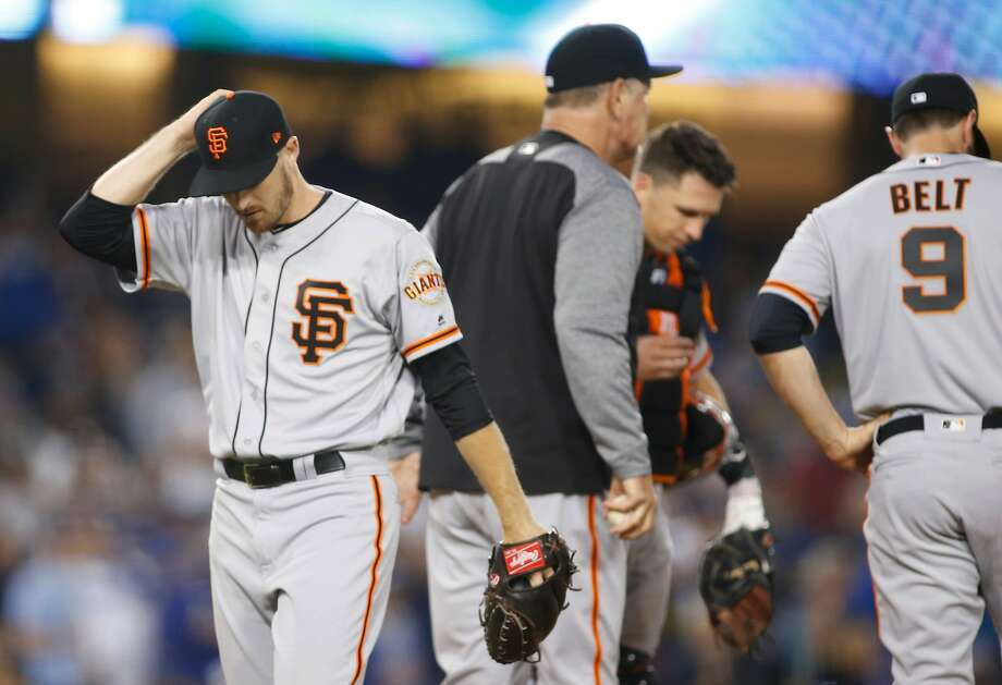 San Francisco Giants starting pitcher Chris Stratton comes out of the baseball game against the Los Angeles Dodgers during the sixth inning Sunday, April 1, 2018, in Los Angeles. (AP Photo/Danny Moloshok) Photo: Danny Moloshok / Associated Press