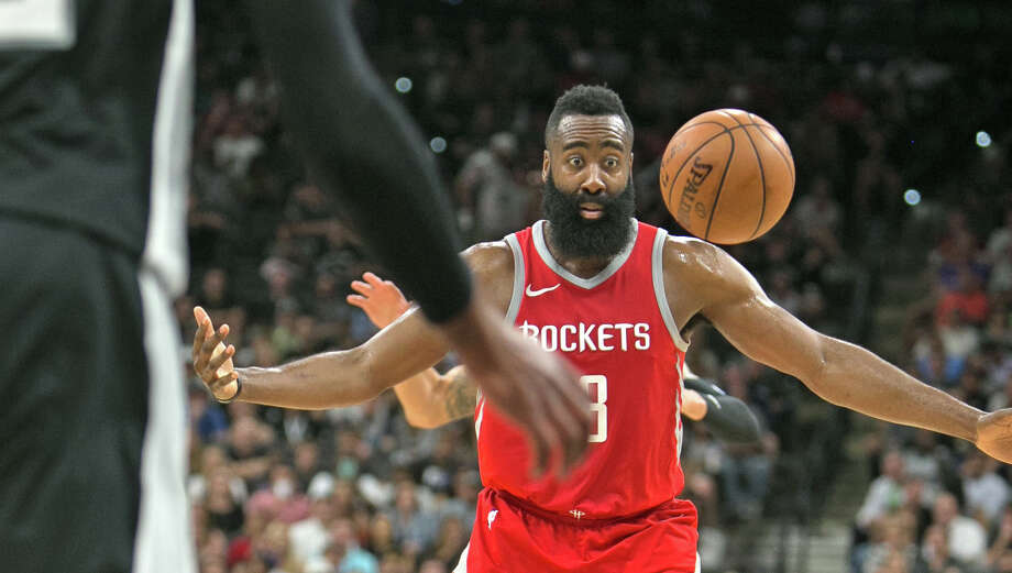 SAN ANTONIO,TX - APRIL 1 : After being forced to not shoot James Harden #13 of the Houston Rockets can't grab the ball during game against the San Antonio Spurs at AT&T Center on April 1 , 2018 in San Antonio, Texas. NOTE TO USER: User expressly acknowledges and agrees that , by downloading and or using this photograph, User is consenting to the terms and conditions of the Getty Images License Agreement. (Photo by Ronald Cortes/Getty Images) Photo: Ronald Cortes/Getty Images