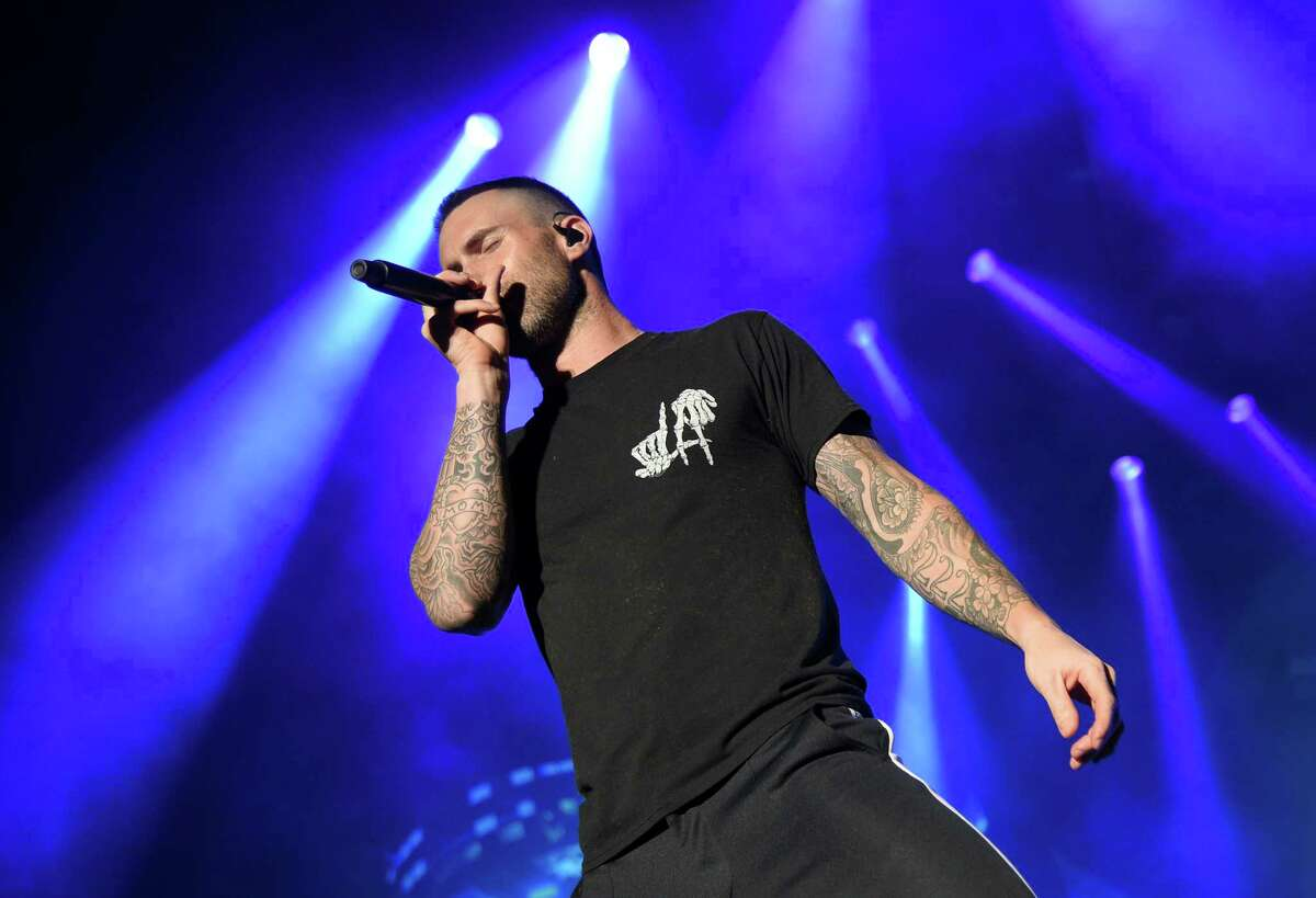 Adam Levine of Maroon 5 performs during the Capital One JamFest onstage at the NCAA March Madness Music Festival at Hemisfair on Sunday.
