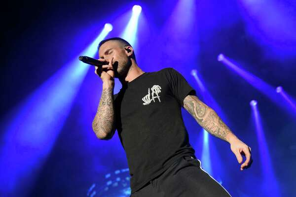 SAN ANTONIO, TX - APRIL 01:  Adam Levine of Maroon 5 performs during the Capital One JamFest onstage at the NCAA March Madness Music Festival at Hemisfair on April 1, 2018 in San Antonio, Texas.