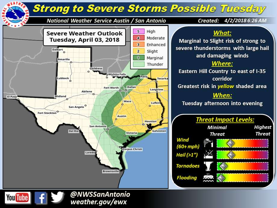 Golf ball-sized hail could hit certain areas of the eastern Hill Country on Tuesday as a cold front moves through the area, according to the National Weather Service. Photo: National Weather Service