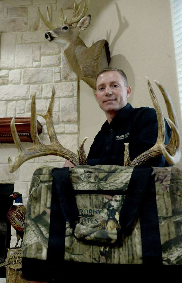 """Necessity being the mother of invention, long-time hunter Brian Hicks developed a cooler to help preserve deer capes and other trophies so that they will be in good shape for taxidermy. Hicks has been selling his """"Trophy Totes"""" at huntin expos and through online sales since starting the business in 2012. The product has been promoted by taxisermists, as the proper preservation helps reduce the effects of bacteria that can damage the fur and hide. Photo taken Tuesday, March 27, 2018 Kim Brent/The Enterprise Photo: Kim Brent / BEN"""