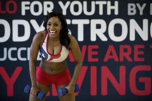 Houston Texans cheerleader Morgan S. works out at the Houston Texans YMCA on Tuesday, March 27, 2018, in Houston. ( Brett Coomer / Houston Chronicle )
