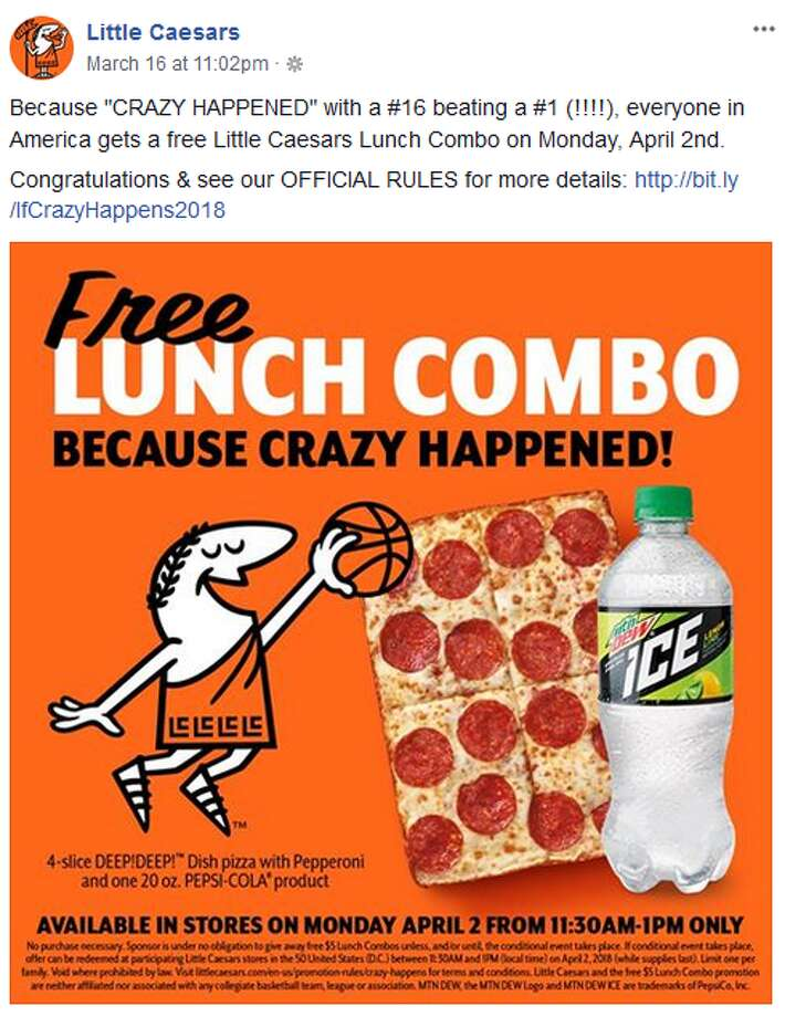 "The ""If Crazy Happens"" promo comes with a 4-slice ""DEEP!DEEP!"" dish pizza with pepperoni and one 20-ounce Pepsi product, according to the business' Facebook page."