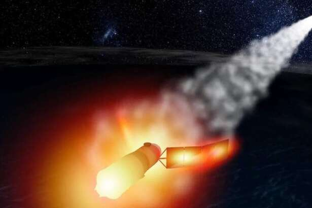 An artist's conception shows the fiery breakup of China's Tiangong-1 space lab.