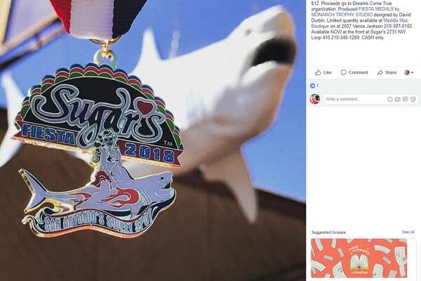 Fiesta Medal Maniacs :  Sugars of San Antonio first ever fiesta 2018 medal!! $12. Proceeds go to Dreams Come True organization. Produced FIESTA MEDALS by MONARCH TROPHY STUDIO designed by David Durbin. Limited quantity available at Maddie Mac Boutique on at 2607 Vance Jackson 210-387-0192. Available NOW at the front at Sugar's 2731 NW Loop 410 210-340-1289. CASH only.