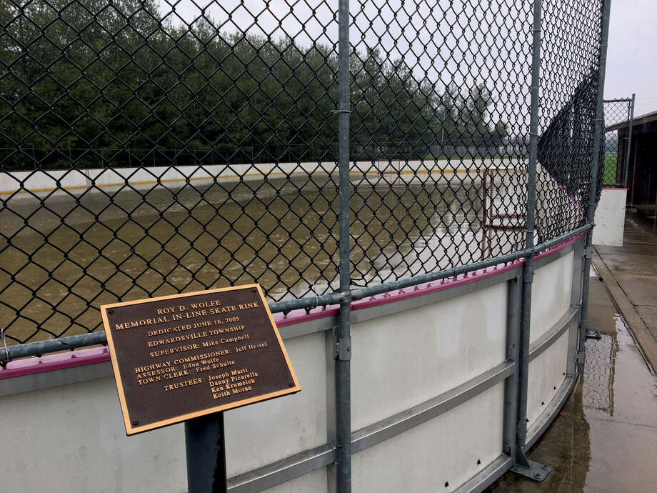The Roy D. Wolfe Memorial In-Line Skate Rink at Edwardsville Township Park is covered with water after the recent rains. Photo: John Sommerhof • Jsommerhof@edwpub.net