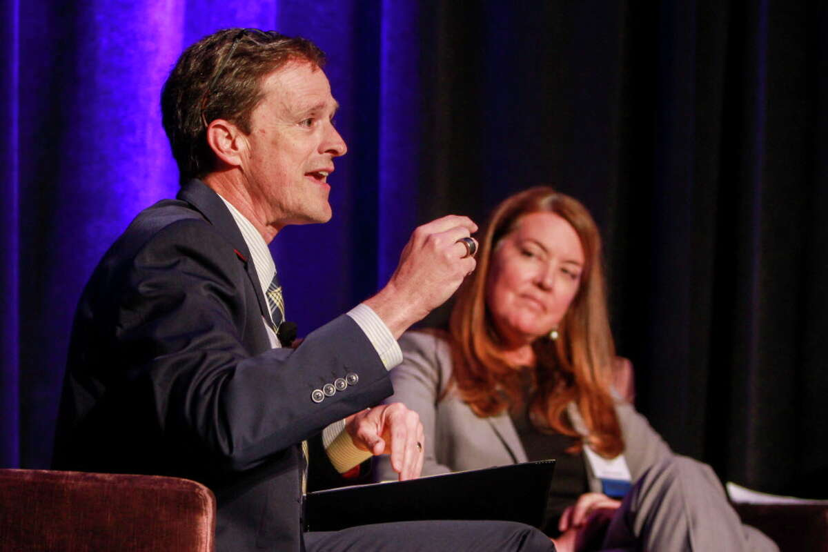 Klein ISD Superintendent Bret Champion and Colleen Dippel during the panel discussion at the Teach for America gala dinner. Click through the gallery to see which Houston-area school districts have the most experienced teachers.