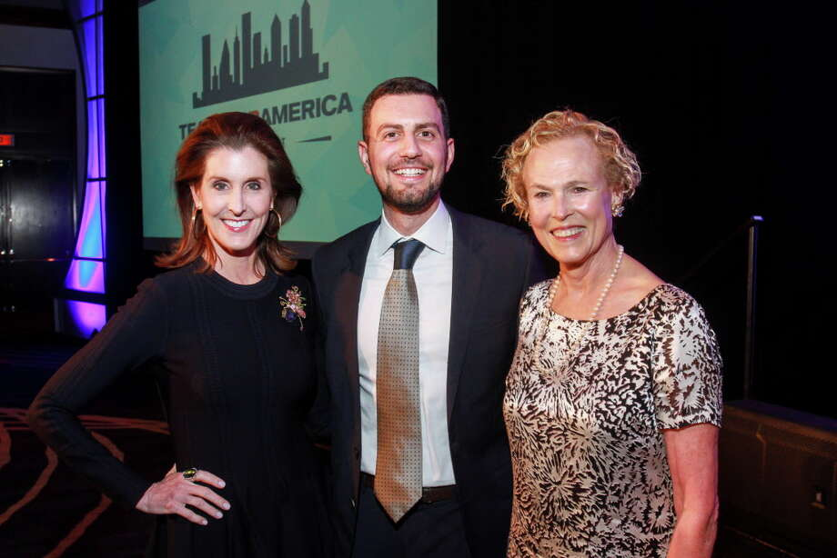 Phoebe Tudor, from left, Adeeb Barqawi and Ann Kennedy at the Teach for America gala dinner. Photo: Gary Fountain, For The Chronicle/Gary Fountain / Copyright 2018 Gary Fountain