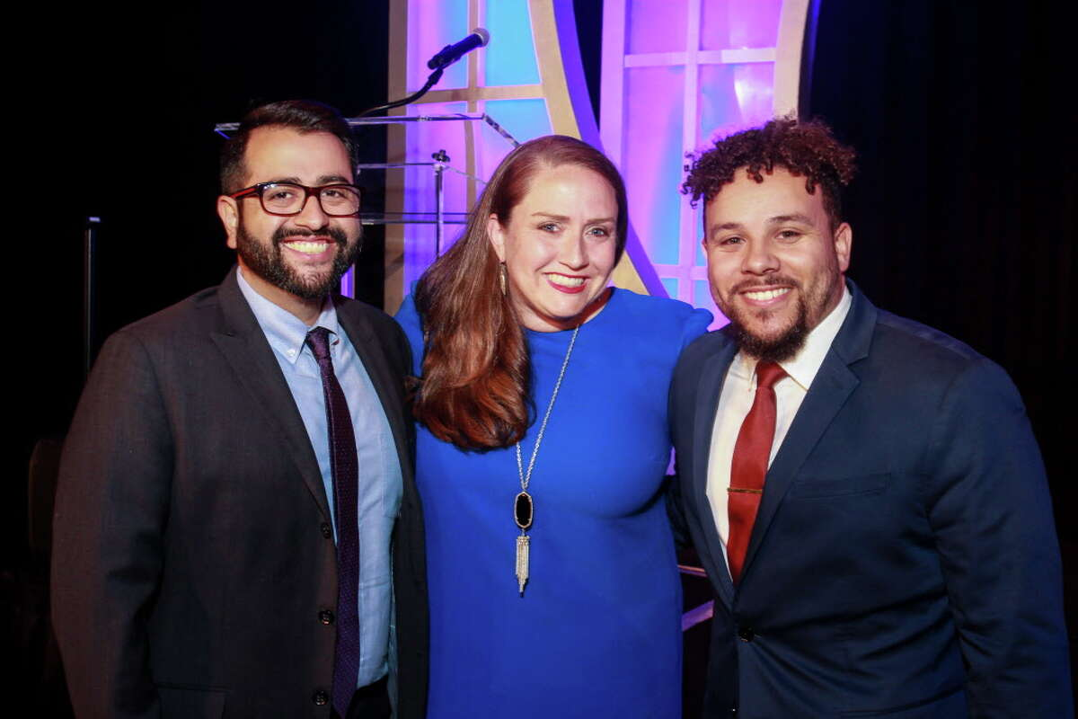 Marcus Ceniceros, from left Trisha Cornwell and Lyric Flood at the Teach for America gala dinner.