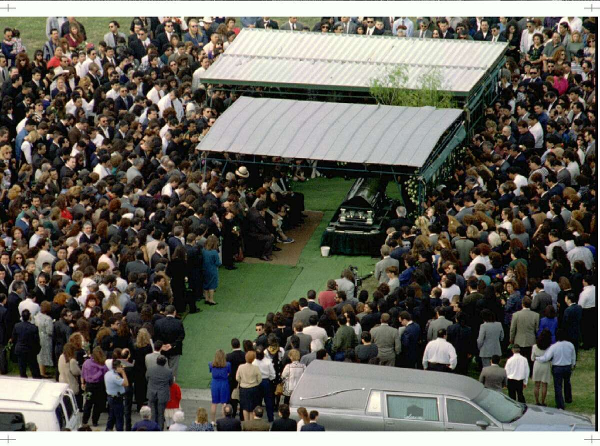 Mourners are shown at the funeral of Selena Quintanilla-Perez in Corpus Christi, Texas April 3. The Tejano singing artist was killed March 31, 1995.