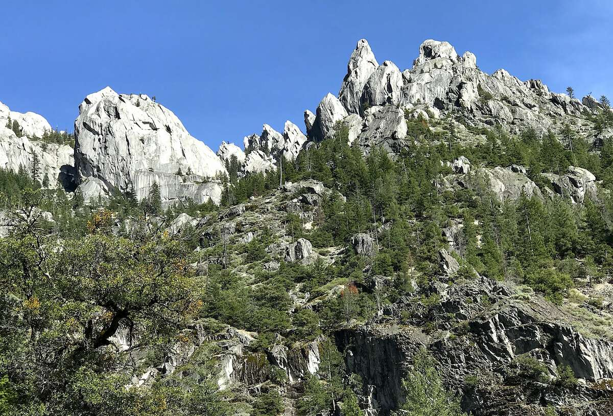 The upper crags above Castle Crags State Park, visible here from the Pacific Crest Trail, tower over Interstate 5 in Northern California